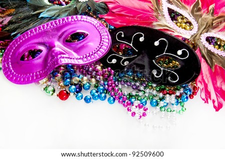 Masks and beads for disguise - stock photo