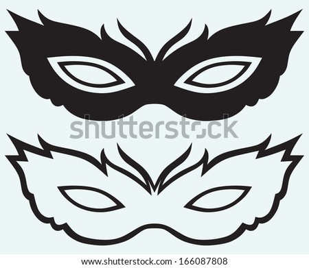 Masks for masquerade costumes isolated on blue background. Raster version