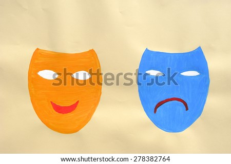Masks happy and happy - stock photo