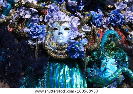 Masks of Carnival of Venice nineteenth-century clothes