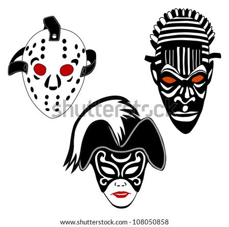 Masks, set of vintage ice hockey, Venice and African masks - stock photo