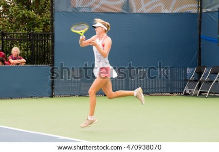 Mason, Ohio - August 13, 2016: Aliaksandra Sasnovich at the Western and Southern Open in Mason, Ohio, on August 13, 2016.