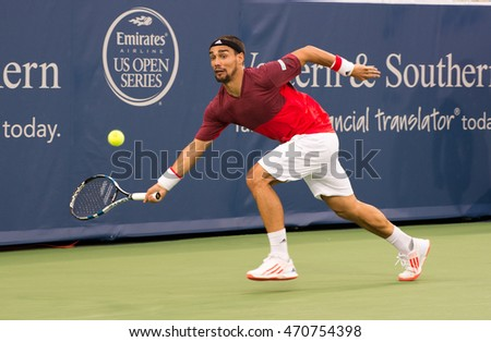 Mason, Ohio - August 16, 2016: Fabio Fognini in a match at the Western and Southern Open in Mason, Ohio, on August 16, 2016.