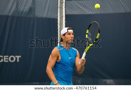 Mason, Ohio - August 16, 2016: Rafael Nadal practices at the Western and Southern Open in Mason, Ohio, on August 16, 2016.