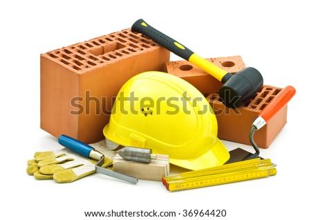 mason tools on white background - stock photo