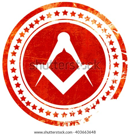 Masonic freemasonry symbol, grunge red rubber stamp on a solid w - stock photo