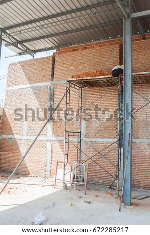 masonry brick wall work : small building home construction detail