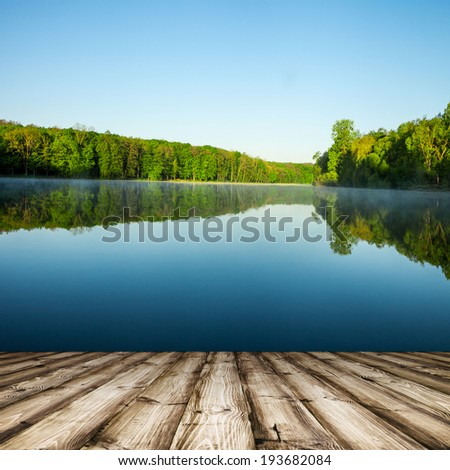 masonry wood textured backgrounds  on the lake and forest backgrounds - stock photo
