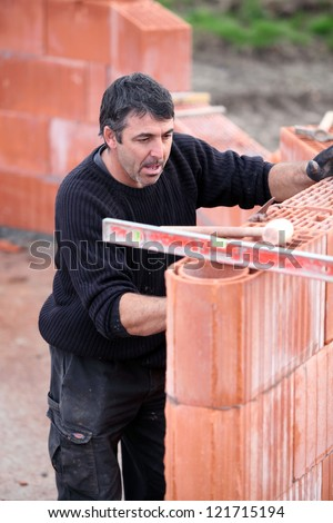 masonry work - stock photo