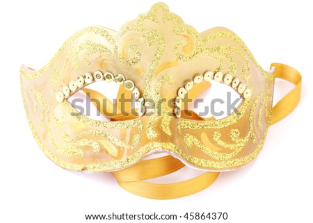 masquerade female golden theatrical mask isolated on a white background