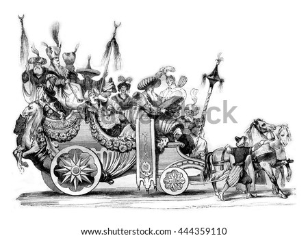 Masquerade invented by French artists in Rome in 1748, vintage engraved illustration. Magasin Pittoresque 1842.