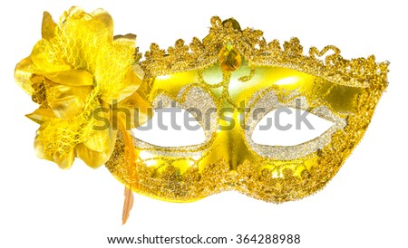 Masquerade mask gold  isolated white background blow front view