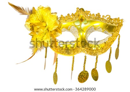 Masquerade mask gold pendants isolated white background blow front view