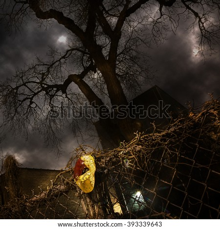 Masquerade - Venetian Mask on Fence with Dramatic Tree and Sky
