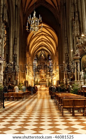 Mass in Stephansdom in Vienna, Austria - stock photo