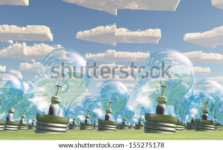 Mass of bulb heads pointing in direction of arrow clouds - stock photo