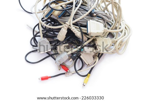 Mass of Tangled up Wires, Connections and Old Cables. Isolated on White. - stock photo