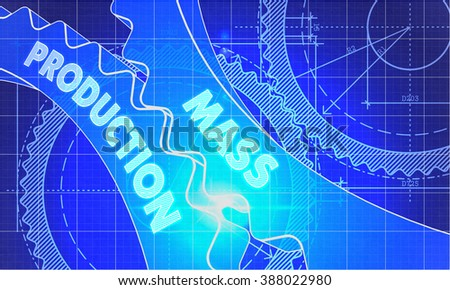 Mass Production on the Mechanism of Cogwheels. Technical Blueprint illustration with Glow Effect. 3D Render. - stock photo