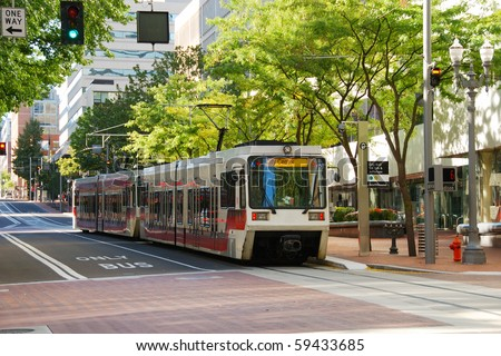 Mass transit train in downtown Portland Oregon - stock photo