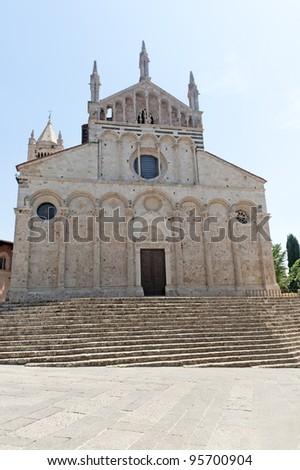 Massa Marittima (Grosseto, Tuscany, Italy), Facade of the Duomo - stock photo