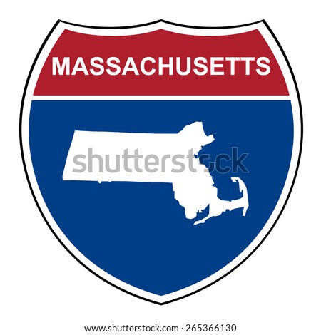 Massachusetts American interstate highway road shield isolated on a white background. - stock photo