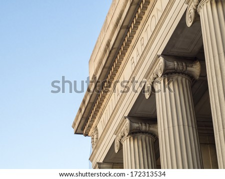 Massachusetts Institute of Technology building columns on Mass Ave. - stock photo