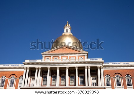 Massachusetts State Capitol House in Boston with blue sky background - stock photo