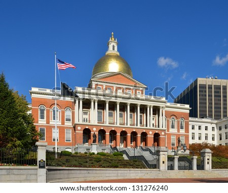 Massachusetts State House, Beacon Hill, Boston, MA - USA - stock photo