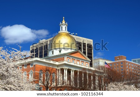 Massachusetts State House which is located in the Beacon Hill neighborhood of Boston is the state capitol and house of government of Massachusetts. - stock photo