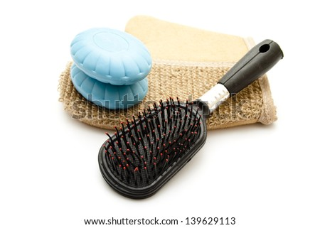 Massage Glove with Blue Soap and Hair brush