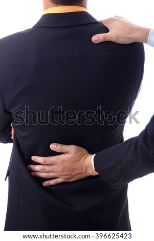 Massage help of businessman in office man back pain injury
