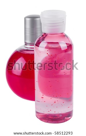 massage oil bottle and foam for bath - stock photo