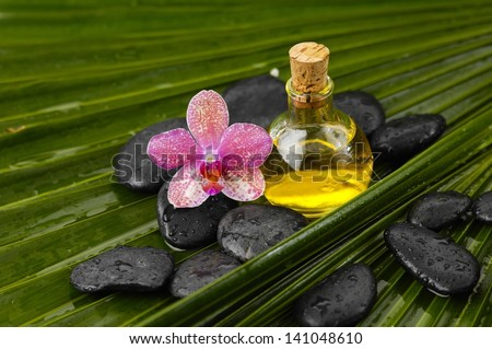 Massage oil with pink orchid and wet spa stones on palm leaf texture