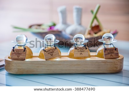 Massage oils are available in four types. - stock photo