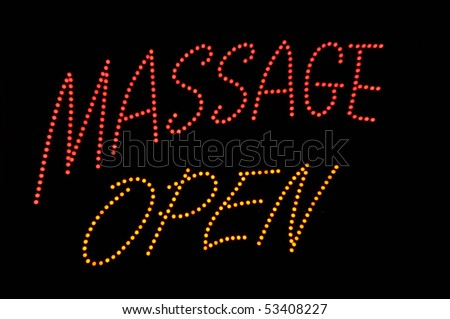 Massage Open Neon Red and Yellow Sign - stock photo