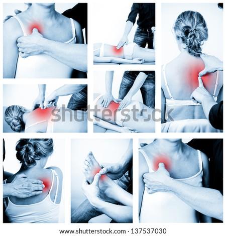 Massage therapist giving a massage. female receiving professional massage. Various massage - stock photo