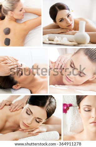 Massaging collage. Beautiful women having different types of massage over isolated background. - stock photo