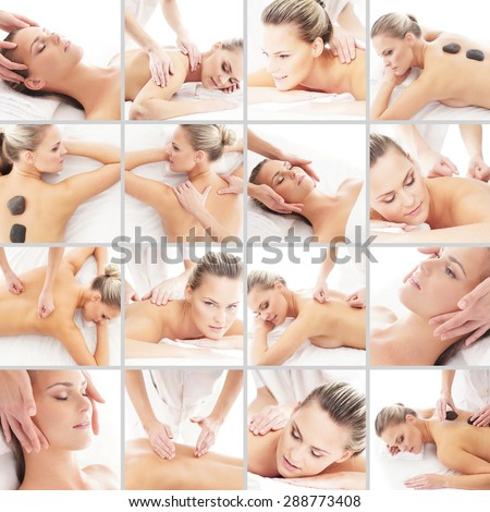 Massaging collage. Spa, rejuvenation, skin care, healing and medicine concept.