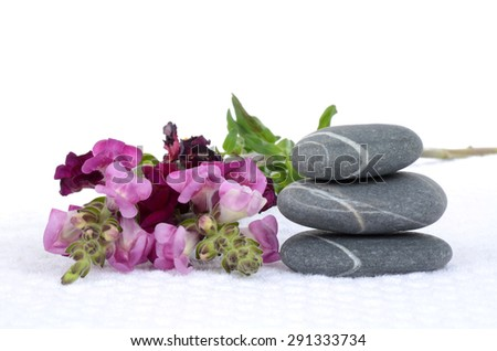 massaging stones and flowers on towel isolated white background - stock photo