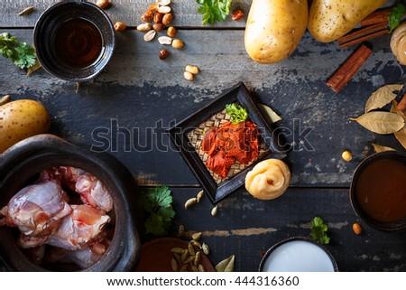Massaman chicken curry ingredients - stock photo