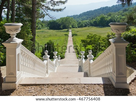 MASSANDRA, RUSSIA - MAY 29,2014: Stairs in the Park of Massandra Palace. Crimea, Russia