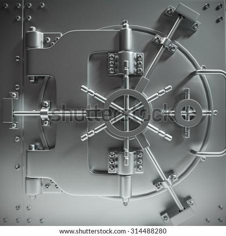 massive bank vault door closed  - stock photo