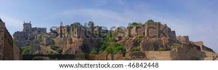 Massive citadel ruins of the  Golconda Fort,  Hyderabad, Andhra Pradesh,  India, Asia - stock photo