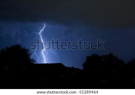 Massive close lightning strike in a local neighborhood - stock photo