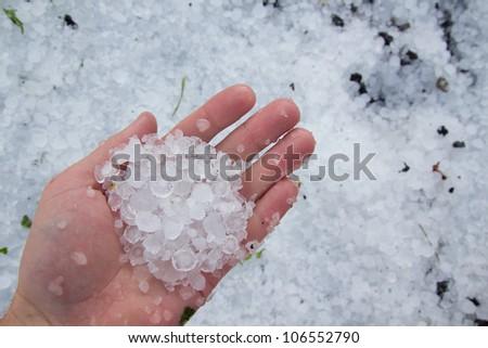 massive hailstorm - stock photo