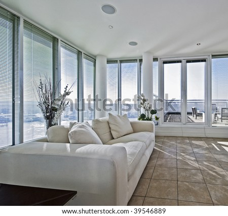massive luxury living room with terrace access door - stock photo