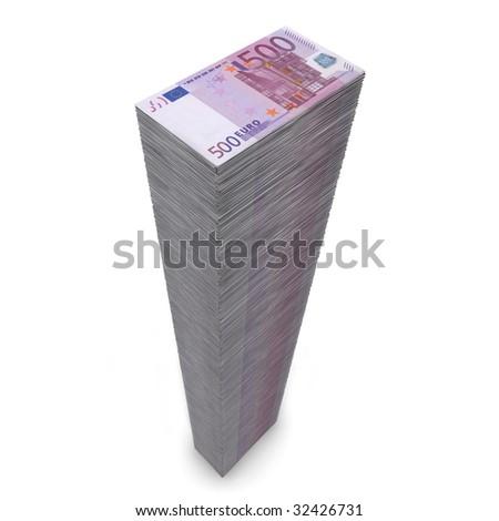 massive money pile of 500 Euro notes on white background - stock photo
