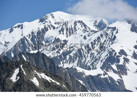 Massive of Mont Blanc from french site, the highest European mountain