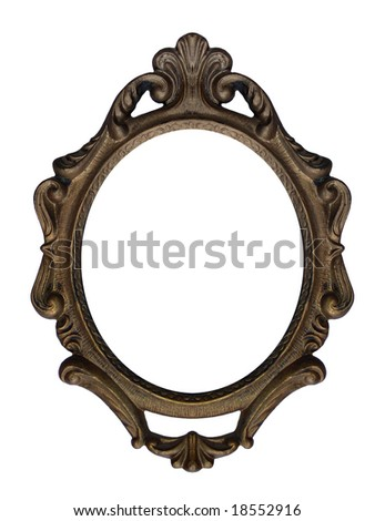 Massive old stylistic mirror frame - stock photo