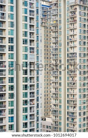 Massive residential towers in Shenzhen, neighboring Hong Kong, China